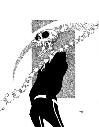 """""""Death's Casual Friday"""" Art Print. Drawing of death, ready for casual friday, holding its scythe and wearing a hoodie"""