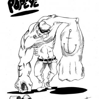 """Popeye"" Art Print. Drawing of Popeye ready to battle after having swallow his favorite's spinach"