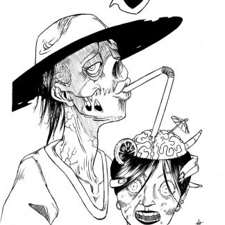 """Zombie Break"" Art Print. Drawing of a zombie having a little break sipping a hot and bloody brain juice with a slice of lemon and little cocktail umbrella. Afterlife is sweet"